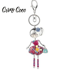 2020 New Hot Sale Enamel Doll Car Bag Pendants Keychain Fashion Alloy Silver Color Key Chain Rings for Women Jewelry Wholesale