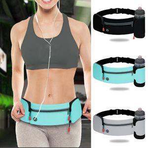 Hot Running Belt Waist Pack With Foldable Water Bottle Holder Adjustable Elastic Strap Water Resistant Phone Holder Bag
