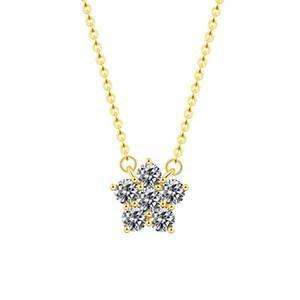 Crystal Rhinestone Paved Star Pendant Necklace Pentagram Five-pointed Luxury Romantic Winter Bridal Bridesmaid Christmas Jewelry