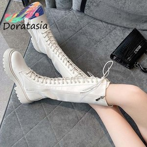 DORATASIA Ins New Arrival Women Zipper Cross Tied Round Toe Knee High Shoes Chunky Short Plush Winter Boots Women Boots