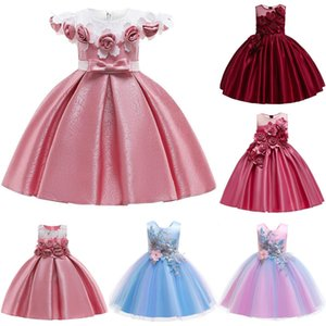 3d Top Girl Baby Flower Silk Princess Dress For Wedding Party Elegant Kids Dresses For Toddler Girl Children Fashion Clothing J190520