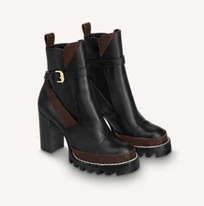 Classics Exquisite Cuero Plataforma Zapatos Botas Mujeres Tacones Altos Y Botas De Moda Al Aire libre Genuinas Martin Botines SH02 L03