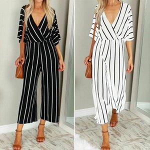 Women Clubwear Holiday Summer Playsuit Short Sleeve Striped Loose Baggy Jumpsuit Romper Wide Leg Overalls Pants Party UK