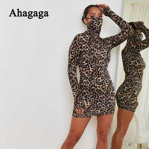 Ahagaga automne léopard mini robe femme manches longues manches longues imprimée imprimée maigre maigre maigres décontracté robes femmes vestidos