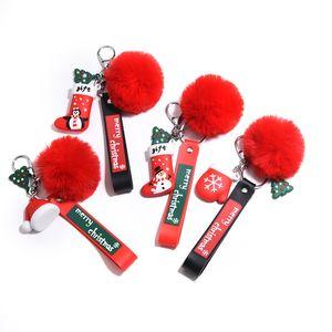New Soft Santa Claus Socks Hat Gloves Hair Ball Pendant Creative Car Keychain Event Christmas Gifts