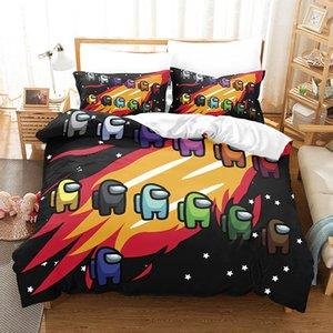 Jogo entre nós conjuntos de roupa de cama 3d impressão digital de desenhos animados três capa de colcha fronha de cobertura de cama capa de lençol toca conjuntos de cama de edredão E12100 fgfom