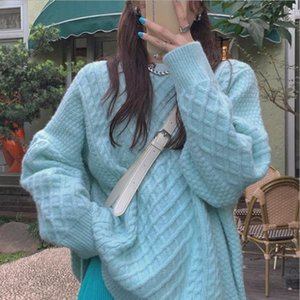1912 15DYP Sweater woman autumn winter new 2020 mid long pullover loose soft Japanese thick blouse soft waxy jersey