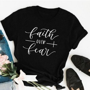 DAY UP Faith Over Fear Christian T Shirt Religion Clothing For Women Graphic Fearless Slogan Vintage Grunge Tops Girl tees