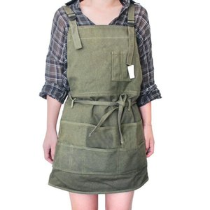 Artist Canvas Apron with Pockets Painting Apron Painter Adjustable Neck Strap Waist Ties Gardening Waxed Aprons for Women Men Ad
