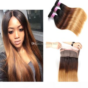 #1B 4 27 360 Lace Band Frontal With Silky Straight Virgin Human Hair Bundles Honey Blonde Hair Weft With 360 Lace Frontal