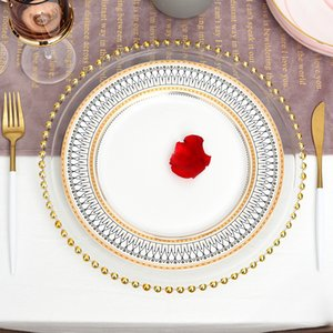 Nordic Gold Bead Glass Charger Dinner Plated Dish Decorative Salad Fruit Wedding Plate Dinner 201217