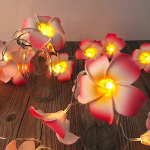 3M 6M Artificial Plumeria String Lights Foam Frangipani LED Fairy Light Egg Flower Lamp Battery Powered for Bedroom Wedding Party Hair Decor