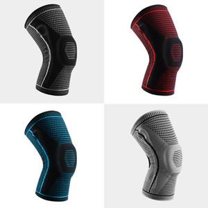 Kompression Silikon Knieunterstützung im Freien Radfahren Basketball Run Elastische Belüftung Knie Beschützer Stricken Warme Kniedecke Schwarz 11CF M2
