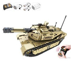Qihui M1A2 Abrams Main Battle Tank USA Remote control Tank educational building block Military mechanical model With motor toys J1204