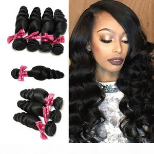 Unprocessed BrazilianHair Weave Peruvian Malaysian Indian Remy Virgin Hair Extensions Natural Color Loose Wave Wavy Human Hair Free Shipping