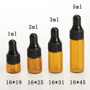 2000pcs lot 1ml 2ml 3ml 5ml Small Amber Dropper Bottles Mini Perfume Sample Vials For Essential Oil Glass Bottles
