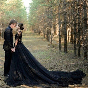 Black Country Gothic Wedding Dresses A Line V Neck Lace Tulle High Split Bridal Gowns Sweep Train Long Sleeves Wedding Gowns Plus Size