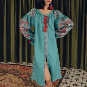 long sleeve midi tunic dresses green floral embroidery 2020 vintage dress vestidos boho holiday Casual women dress robe