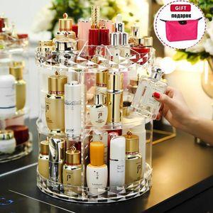 Cosmetics Storage Box Makeup Organizer Jewelry Storage Box Bag 360 Degree Rotating Cosmetic Storage Display Case Large Capacity Z1123