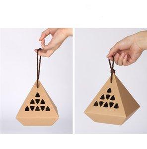 Oco para fora caixas de papel kraft com cabo de corda rhombus forma alimentos doces embalagem caixas de embalagem de biscoitos Caixa de presente de chá DHF3550