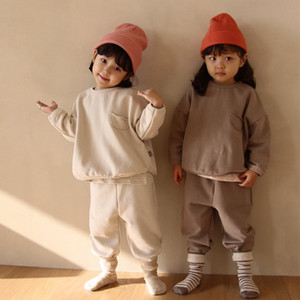 INS Autumn Korean Girls Long Sleeve for Children Sports Suits New Boys Round Neck Pure Color Cotton Casual Set