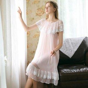 Estate manica corta camicia da notte femmina dolce principessa stile sottile sezione sottile sleepwear pizzo sciolto modal home service R13751