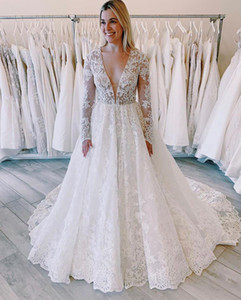 Sexy White Deep V Neck A Line Lace Applique Sequins Long Sleeves Castle Wedding Dresses Pleats Custom Made Bridal Wedding Gowns P67
