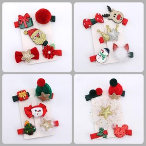 Children Barrettes Hair Accessories Christmas Set Little Girl Crown Baby Headdress Girls Integrated Seat Cover Headband