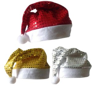 Shiny Christmas Hat Simple Hats Christmas Holiday Supplies Red Gold Silver BEB3532