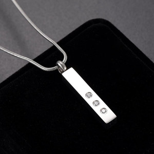 Cendres Collier de pendentif Crendeur Crendeur 316L Collier d'urne en acier inoxydable pour Human / Pet Ashes Bar Inlay Zircon Keeping Bijoux