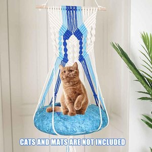 Without Mat Home Decor Bedroom Resting Seat Handwoven Macrame Pet Supplies Wall Hanging Cotton Rope Window Cat Hammock Swing Bed