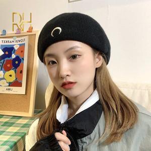 Boinas de punto invierno cálido boina negro femenino artista artista gorro sombrero gótico punk estilo retro luna bordado mujer pintor rh