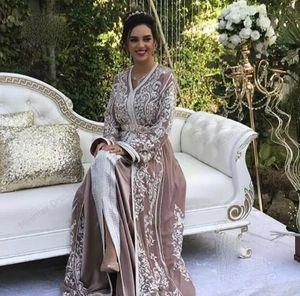 Moroccan Kaftan Caftan Muslim Evening Dresses A-line V-neck Long Sleeve Appliques Beading Dubai Arabic Turkey Prom Gowns
