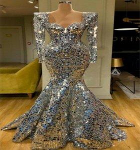 Серебряный дизайнер вечернее платье русалка роскошные блестки с длинными рукавами выпускной платья выпускного вечера горячая распродажа