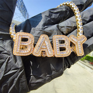 DIY Custom Name Necklace Jewelry High Quality Gold Plated Bling CZ Letter Pendant Necklace 4mm 20inch CZ Tennis Chain