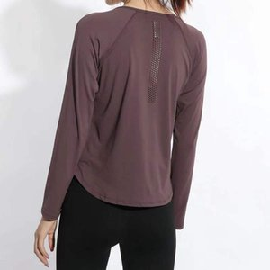New winter fitness long-sleeved T-shirt girl back punching yoga clothing show big yards breathable loose running thin coat
