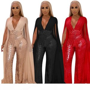 Women pants two piece clothes Sexy sequin evening dress fashion set Chiffon shirt wide leg pants suit Perspective nightclub party outfits