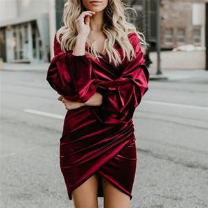 Femmes Sexy Col V Col Verros à manches longues Plonges Night Club Vêtements Vêtements Mode Or Style Femmes Mini robe