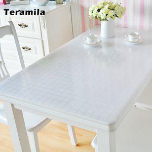 Teramila 1.0 / 1.2 / 1.5mm impermeable impermeable Transparente Transparente Teléfono PVC mantel de vidrio suave para cocina Cubierta de mesa de comedor Mat 201120