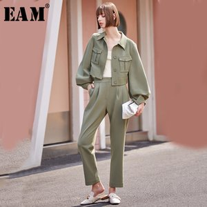 [EAM] Wide Leg Pants Two Piece Suit New Lapel Neck Long Sleeve Black Loose Fit Women Fashion Tide Spring Autumn 2020 1B159 Y1123
