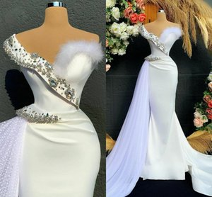 Formal Ivory Evening Dresses for Women 2021 Crystal Beaded Mermaid Prom Dress Arabic Graduation Robes De Soirée