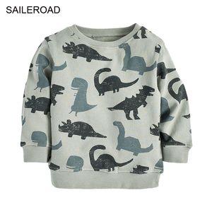 Saileroad ديناصور طباعة الفتيان الصغير س الرقبة سوياتشيرتس الخريف رقيقة البلوز للأطفال هوديس ملابس الأطفال سوياتشيرتس