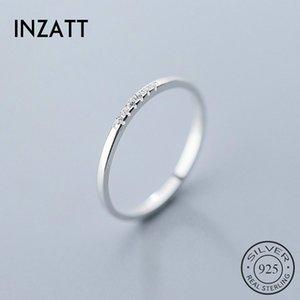 INZATT Real 925 Sterling Silver Zircon Geometric Round Ring For Fashion Women Fine Jewelry Minimalist Cute Accessories 2020 Gift