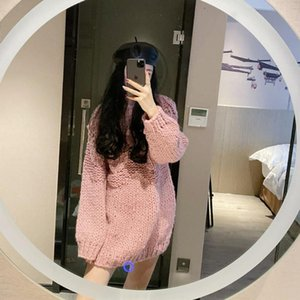 2021 Luxury designer New pink round neck thick line sweater women thicken loose outer wear wholesale