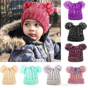 Kids Knit Cap Crochet Pom Beanies Girls Soft Double Balls Winter Warm knitting Hat Beanie Outdoor Baby Ski Caps Party Hats GWA1851