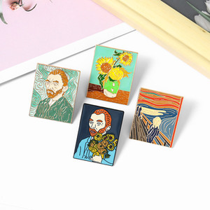 Oil Painting Enamel Pins Custom The Scream Sunflower Van Gogh Brooches Bag Clothes Lapel Pin Badge Art Jewelry Gift for Friends