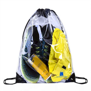 50pcs PVC Transparent Waterproof Drawstring Backpack Camo Gym Bag School Sport Outdoor Beach Shoe Bag