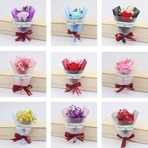 Mini Sevgililer Günü Hediye Kurutulmuş Yapay Çiçek Sahte Gypsophila Buket Yaratıcı Ebedi Gypsophila Buket Sabun Çiçek EWB4231