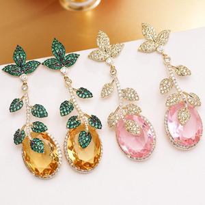 Fashion Brand Earrings Green Leaf Yellow Gem Pendant Earring Design Long Plant Earings 925 Silver Needle Wedding Jewelry For Women