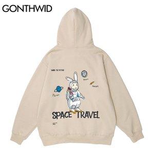 GONTHWID Rabbit Astronaut Print Hoodie Sweatshirts Streetwear Hip Hop Harajuku Casual Hooded Pullover Men Women Fashion Tops 201025